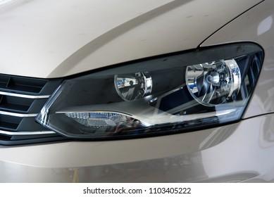 Novokuznetsk, Russia - September 02, 2017: Headlight Volkswagen Polo in dealership Volkswagen in Novokuznetsk