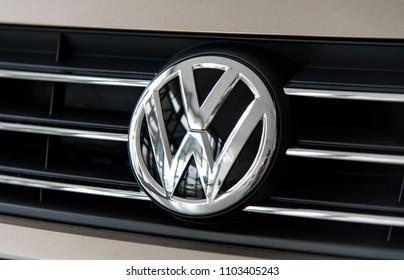 Novokuznetsk, Russia - September 02, 2017: Close-up logo Volkswagen Polo in dealership Volkswagen in Novokuznetsk