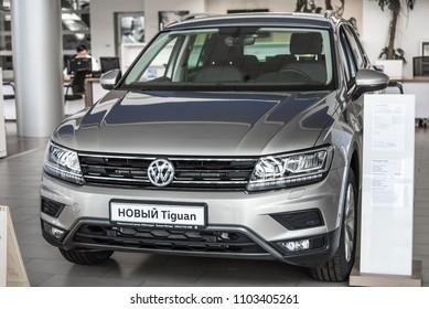 Novokuznetsk, Russia - September 02, 2017: Volkswagen Tiguan in dealership Volkswagen in Novokuznetsk