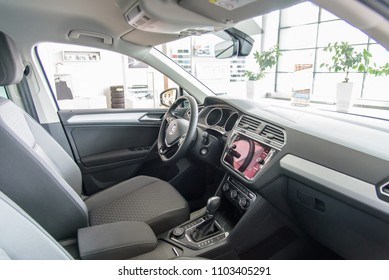 Novokuznetsk, Russia - September 02, 2017: Interior Volkswagen Tiguan in dealership Volkswagen in Novokuznetsk