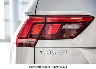Novokuznetsk, Russia - September 02, 2017: Close-up logo Volkswagen Tiguan in dealership Volkswagen in Novokuznetsk