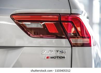 Novokuznetsk, Russia - September 02, 2017: Volkswagen Tiguan back view in dealership Volkswagen in Novokuznetsk
