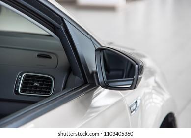 Novokuznetsk, Russia - September 02, 2017: Volkswagen Polo side mirror in dealership Volkswagen in Novokuznetsk