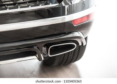 Novokuznetsk, Russia - September 02, 2017: Exhaust pipe Volkswagen Touareg R-Line in dealership Volkswagen in Novokuznetsk