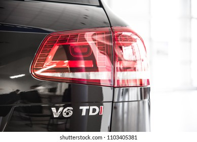 Novokuznetsk, Russia - September 02, 2017: Volkswagen Touareg R-Line back view in dealership Volkswagen in Novokuznetsk