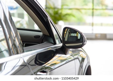 Novokuznetsk, Russia - September 02, 2017: Volkswagen Touareg R-Line side mirror in dealership Volkswagen in Novokuznetsk