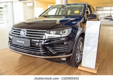 Novokuznetsk, Russia - September 02, 2017: Volkswagen Touareg R-Line in dealership Volkswagen in Novokuznetsk