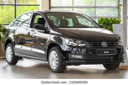 Novokuznetsk, Russia - September 02, 2017: Volkswagen Polo in dealership Volkswagen in Novokuznetsk
