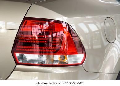 Novokuznetsk, Russia - September 02, 2017: Volkswagen Polo back view in dealership Volkswagen in Novokuznetsk