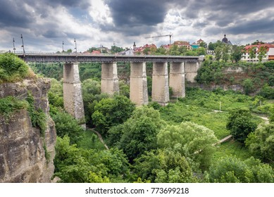 Novoplanivskyi Bridge over canyon of Smotrych River in Kamianets Podilskyi, Ukraine