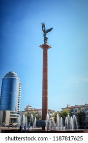 Novorossiysk, Russia - 2 May, 2016: Embankment of Admiral Serebryakov in Novorossiysk, Forum square. Stela 'Sea Glory of Russia'. Sculpture is an angel who holds a ship in his hands