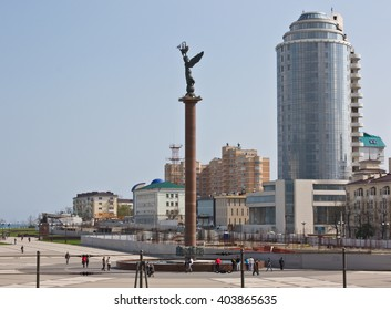 NOVOROSSIYSK, RUSSIA - APRIL 23, 2010: The waterfront of Novorossiysk - a major port city in the South of Russia