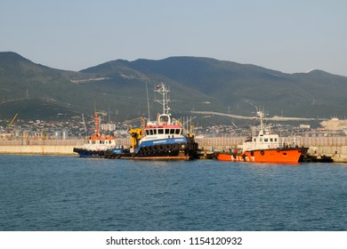 Novorossiysk, Russia - August 06, 2018: A ship in the port of Novorossiysk. Novorossiysk port.
