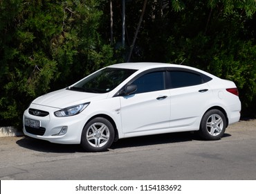 Novorossiysk, Russia - August 06, 2018: Parked on the side of the city road car Hyundai Solaris.