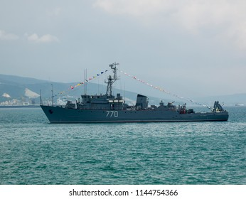 """NOVOROSSIYSK, RUSSIA - JULY 29, 2018: Celebrating the day of the Russian Navy. Marine minesweeper """"Valentin Pikul"""" in the roadstead. JULY 29, 2018"""