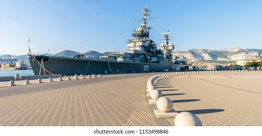 NOVOROSSIYSK, RUSSIA - JULY 3, 2018: The ship-museum cruiser Mikhail Kutuzov moored at the pier of the port of Novorossiysk