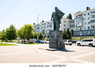 NOVOROSSIYSK, RUSSIA - JULY 7, 2019: Monument to the Unknown Sailor at Admiral Serebryakov Embankment. Novorossiysk is city in Krasnodar Krai, Russia, it is main country's port on Black Sea
