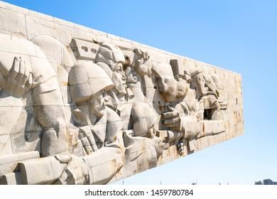 NOVOROSSIYSK, RUSSIA - JULY 7, 2019: relief of Second World War Memorial Malaya Zemlya on Sudzhukskaya Kosa beach of Tsemes bay of the Black Sea in Novorossiysk city