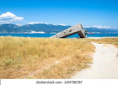 NOVOROSSIYSK, RUSSIA - JULY 7, 2019: view of area of Second World War Memorial Malaya Zemlya on Sudzhukskaya Kosa beach of Tsemes bay of the Black Sea in Novorossiysk city on summer day