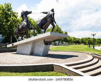 NOVOROSSIYSK, RUSSIA - JULY 7, 2019: Monument to the White Guards Exodus on Admiral Serebryakov Embankment and in Novorossiysk city. Novorossiysk is city in Krasnodar Krai, Russia