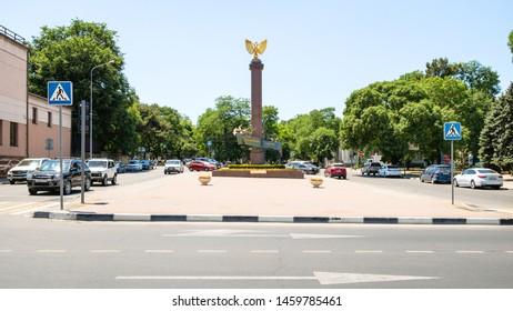 NOVOROSSIYSK, RUSSIA - JULY 7, 2019: Monument to Novorossiysk Republic on street of the Novorossiyskoy Respubliki. Novorossiysk is city in Krasnodar Krai, it is main country's port on Black Sea