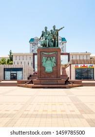 NOVOROSSIYSK, RUSSIA - JULY 7, 2019: Monument to the founders of Novorossiysk (Raevsky, Serebryakov and Lazarev) on Forum Square of Admiral Serebryakov Embankment in Novorossiysk