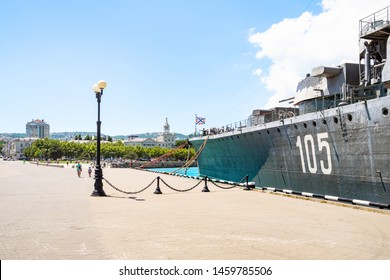 NOVOROSSIYSK, RUSSIA - JULY 7, 2019: visitors on excursion at memorial ship cruiser Mikhail Kutuzov in Novorossiysk. Novorossiysk is city in Krasnodar Krai, Russia, it is country's port on Black Sea