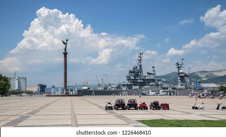 Novorossiysk, Russia - July 9: Forum plaza and navy ship in Novorossiysk on July 9, 2018 in Novorossiysk, Russia.
