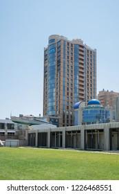 Novorossiysk, Russia - July 9: Multistoried building in Novorossiysk on July 9, 2018 in Novorossiysk, Russia.