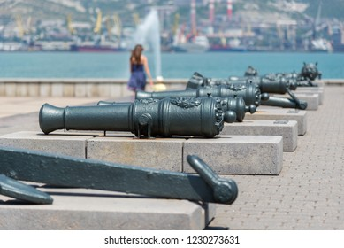 Novorossiysk, Russia - July 9: Old ship cannon on the berth in Novorossiysk on July 9, 2018 in Novorossiysk, Russia.