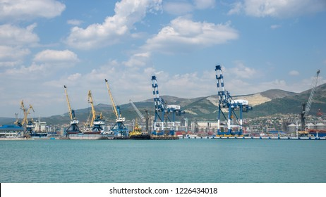 Novorossiysk, Russia - July 9: Port of Novorossiysk on July 9, 2018 in Novorossiysk, Russia.