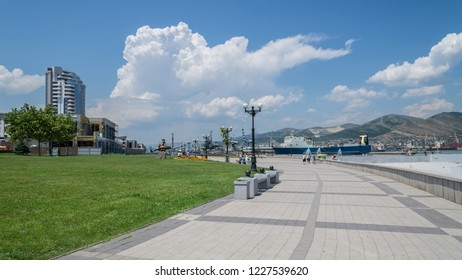 Novorossiysk, Russia - July 9: Seafront in Novorossiysk on July 9, 2018 in Novorossiysk, Russia.
