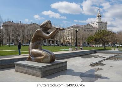 Novorossiysk, Russia - March 25: Fountain Daruyushaya in Novorossiysk on March 25, 2019 in Novorossiysk, Russia.