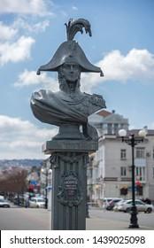 Novorossiysk, Russia - March 25: Michael Petrovich Lazarev sculpture in Novorossiysk on March 25, 2019 in Novorossiysk, Russia.