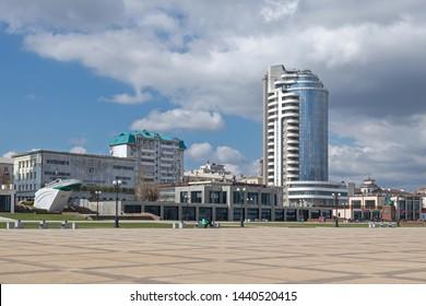 Novorossiysk, Russia - March 25: Multistoried building in Novorossiysk on March 25, 2019 in Novorossiysk, Russia.