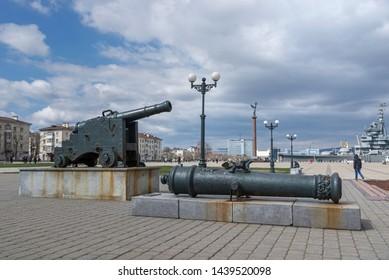 Novorossiysk, Russia - March 25: Old cannon in Novorossiysk on March 25, 2019 in Novorossiysk, Russia.