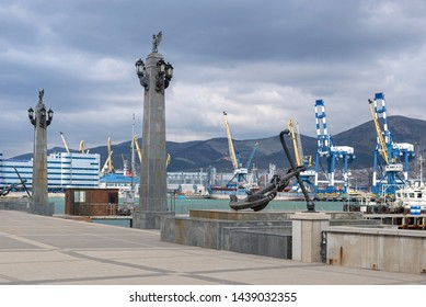 Novorossiysk, Russia - March 25: Port of Novorossiysk on March 25, 2019 in Novorossiysk, Russia.