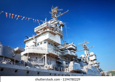Novorossiysk, Russia, MAY 02, 2016: Soviet warship Mikhail Kutuzov in the port of Novorossiysk