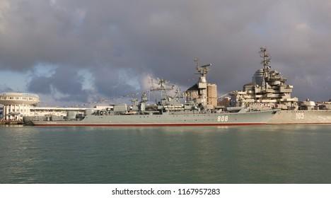 "NOVOROSSIYSK, RUSSIA, MAY 9, 2015: Patrol ship ""Pytlivyj"" in the Tsemes bay of Novorossiysk . Black sea fleet naval forces of Russia"