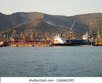 NOVOROSSIYSK, RUSSIA. Port and sea-front in Novorossiysk, Russia.