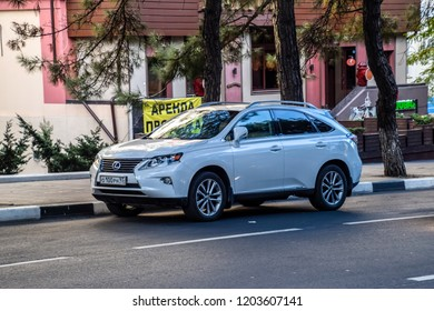 Novorossiysk, Russia - September 29, 2018: Car Lexus rx 450h parked at the edge of the roadway.