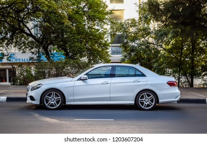 Novorossiysk, Russia - September 29, 2018: Car Mercedes-Benz C-Class parked at the edge of the roadway.
