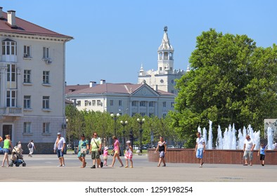 Novorossiysk, RUSSIA-AUGUST 10, 2015: view from the embankment to the building of Novorossiysk transport inspection on Mira street 23