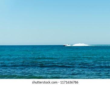 Novorossiysk, Russian Federation – July 03, 2018: Coastguard white speed yacht in open waters