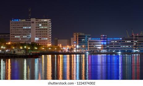 Novorossiysk,Russia - 08.13.2018: Night port of Novorossiysk Black Sea