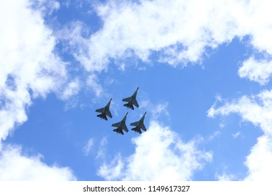 "NOVOSIBIRSK - AUG. 05:  Aviation holiday was called ""Where we are - there is victory"". ""Falcons of Russia"" group (Lipetsk) showing maneuvers fighters Su-35. August 05, 2018, Novosibirsk, Russia."