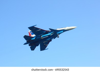 NOVOSIBIRSK - AUG. 05: Sukhoi Su-30SM. Russian Air Force Aerobatic Team Russian Knights performing during landing at Tolmachevo International Airport. August 05, 2017 in Novosibirsk Russia