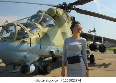 "NOVOSIBIRSK - AUG. 25: Attack helicopter Mi-24. International military-technical Forum ""ARMY-2018"" at Novosibirsk Tolmachevo Airport. August 25, 2018 in Novosibirsk Russia"