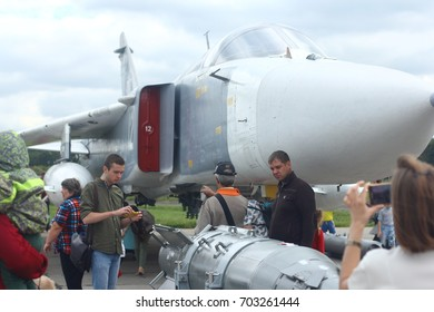 """NOVOSIBIRSK - AUG. 26: International military-technical Forum """"ARMY-2017"""" at Novosibirsk Tolmachevo Airport. Sukhoi Su-24 """"Fencer"""" supersonic with fighting set.  August 26, 2017 in Novosibirsk Russia"""