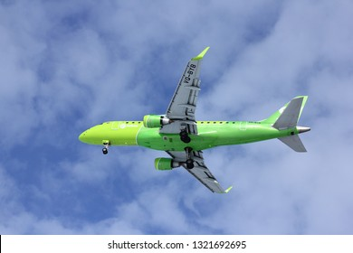 NOVOSIBIRSK, FEB. 23: Embraer ERJ-170 of S7 airlines landing at Novosibirsk Tolmachevo Airport. February 23, 2019 in Novosibirsk Russia